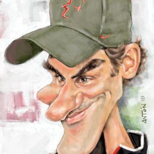 Caricatura personalizada digital de calidad - Roger Federer