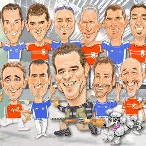 caricaturas Huesca - grupo amigos pelotaris