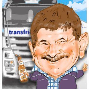 Caricaturas por encargo transportista jubilado
