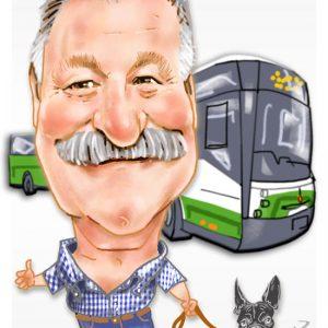 Caricaturas de jubilados - conductor de bus