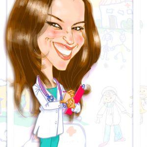 Caricaturas por encargo medico pediatra graduacion