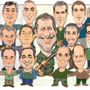 Caricaturas de grupo asociacion cazadores