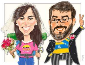 Caricaturas Madrid personalizada de pareja friki