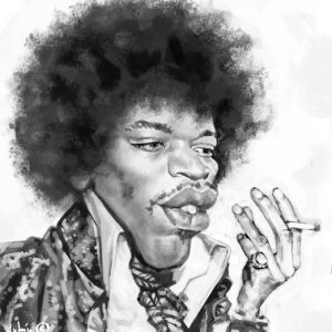 Caricaturas de famosos -  Jimmy Hendrix