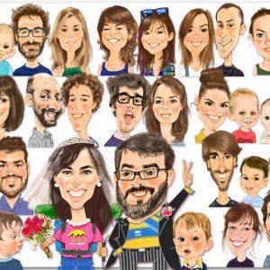 Caricaturas de grupo Novios Frikis
