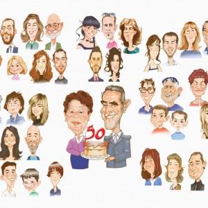 Caricaturas de grupo familia_bodas_de_oro