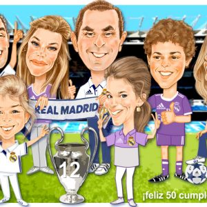 caricaturas Huesca - Familia aficionada al futbol