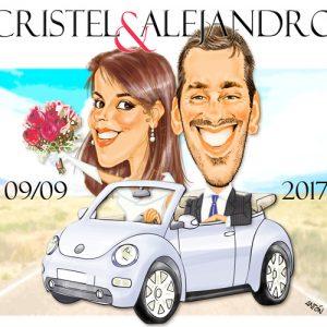 Caricaturas por encargo pareja novios coche